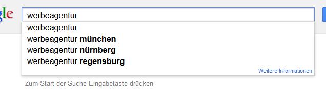 Google Suggest: Suche nach Werbeagentur