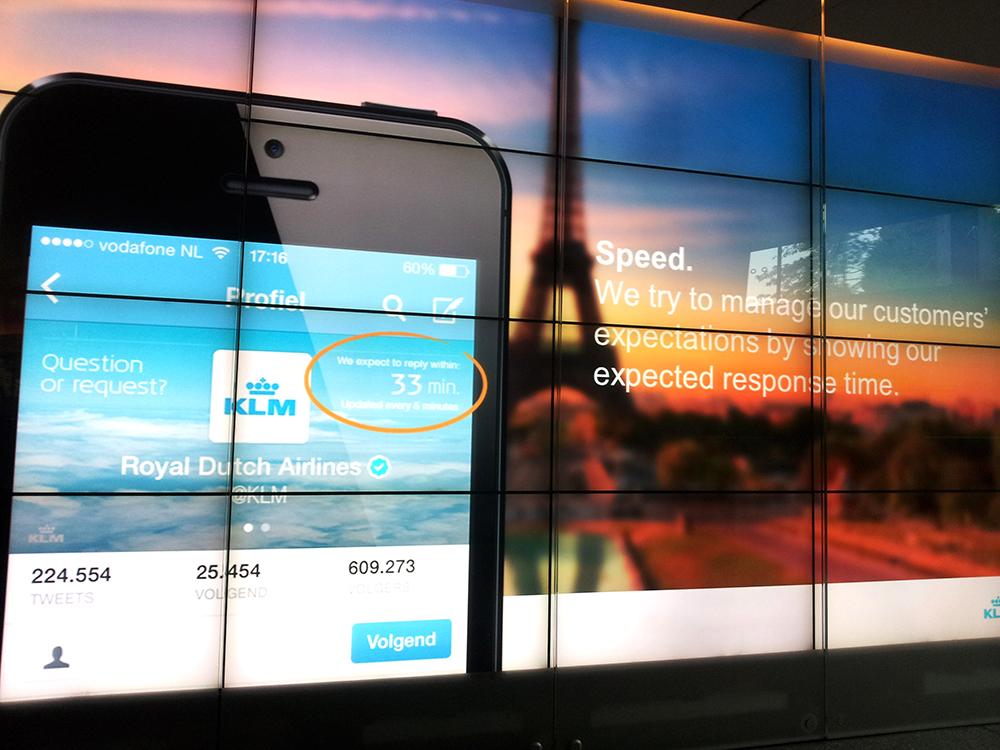KLM Twitter-Profil mit aktueller Antwortzeit-Anzeige